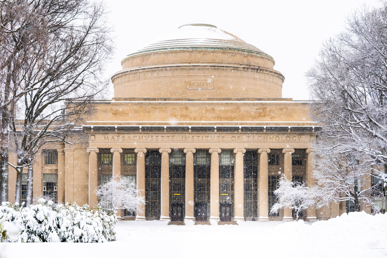 MIT's signature dome during a snowstorm in Cambridge, MA