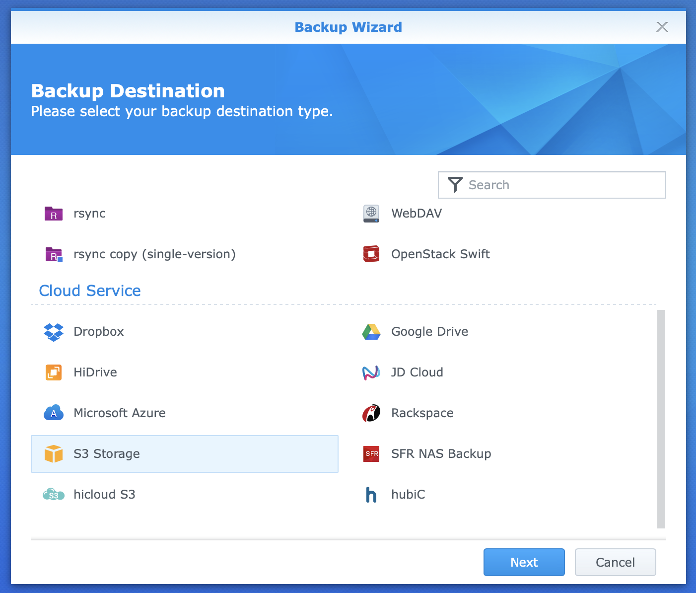 Screen showing the new backup task wizard